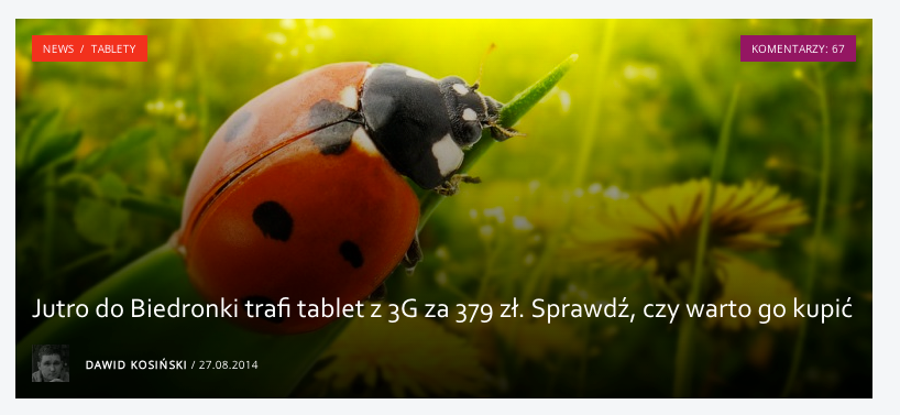 Tak wygląda kafelek z tytułem na Spider's Web. Podobnie wygląda na nowej Wp.pl
