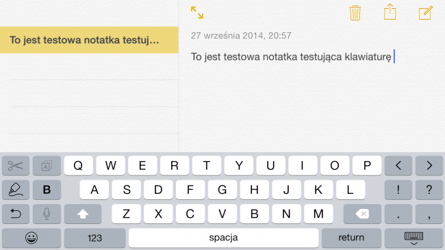 iOS 8, 6+, klawiatura