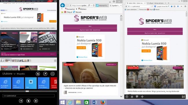 Internet Explorer (w trybie dotykowym i klasycznym) i Firefox