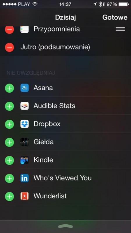widżety iOS 8