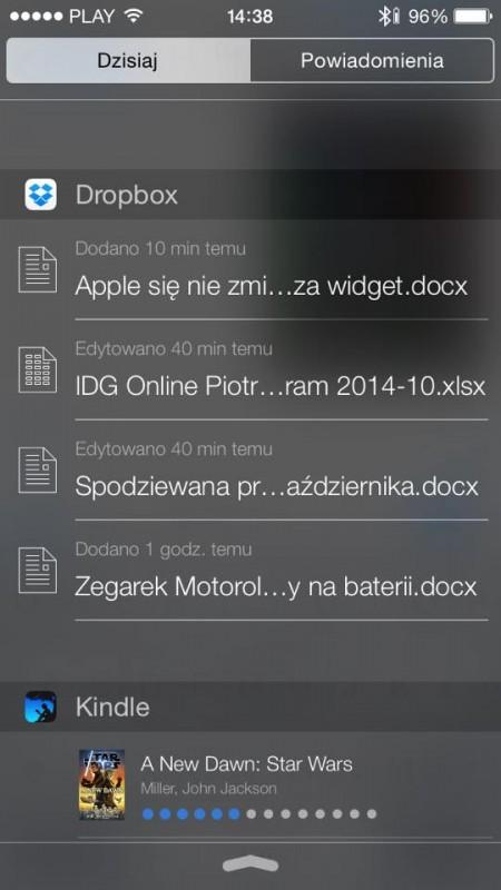 widżety iOS 8 w praktyce