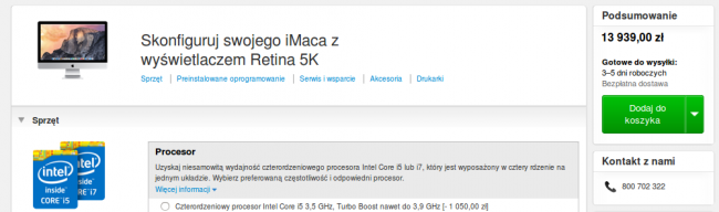 imac retina 5k cena