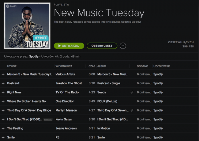 Spotify App - new music Tuesday