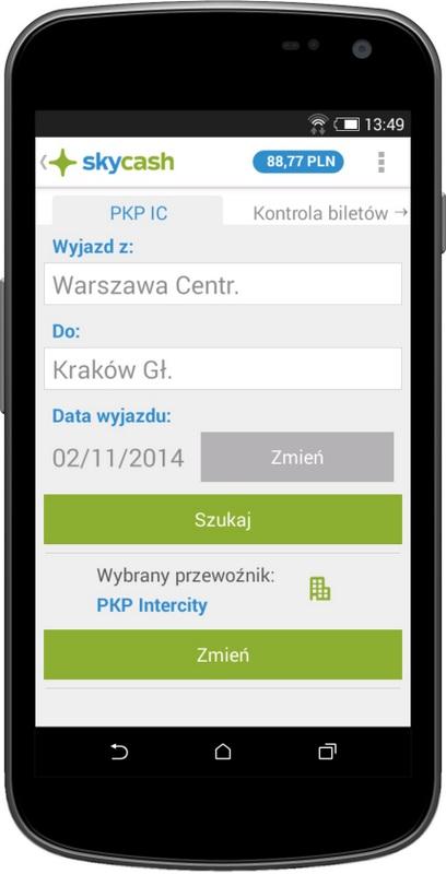 skycash Zakup biletu PKP Intercity
