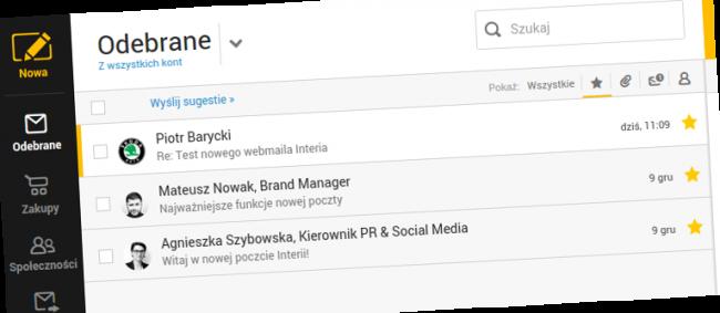 Poczta Interii - wygodne filtrowanie wiadomości