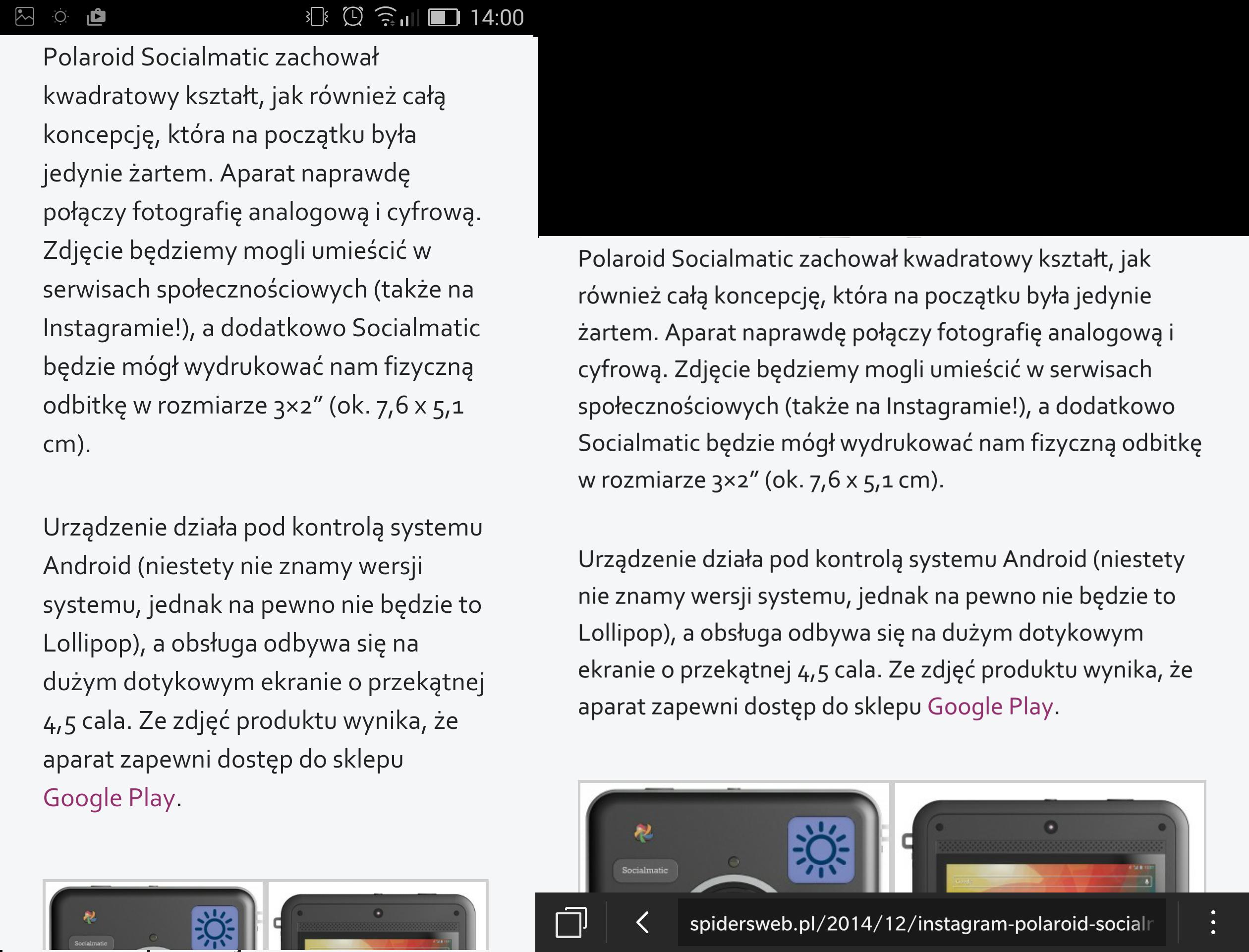 W obydwu urządzeniach rozmiar tekstu ustawiony tak, by dało się wygodnie czytać