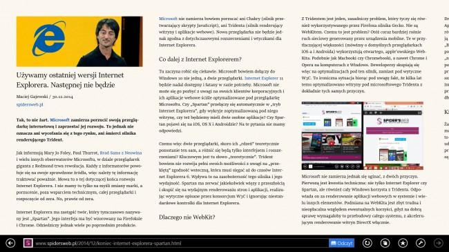 Tak wygląda tryb Odczytu w Internet Explorerze