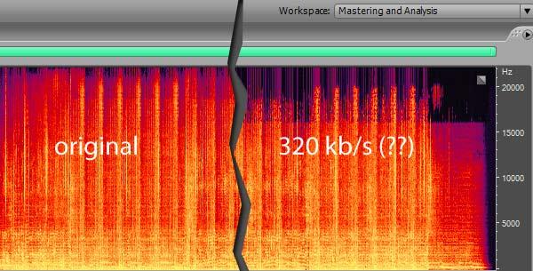 Spektrum wyraźnie pokazuje, ile informacji przepada podczas kompresji