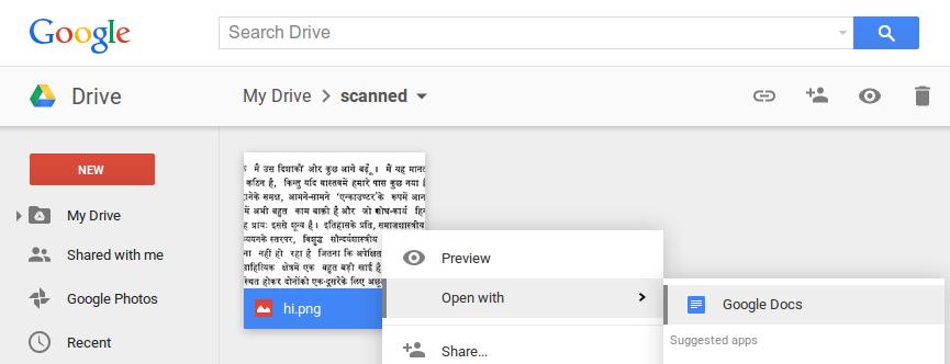 Funkcja OCR wbudowana w Google Drive