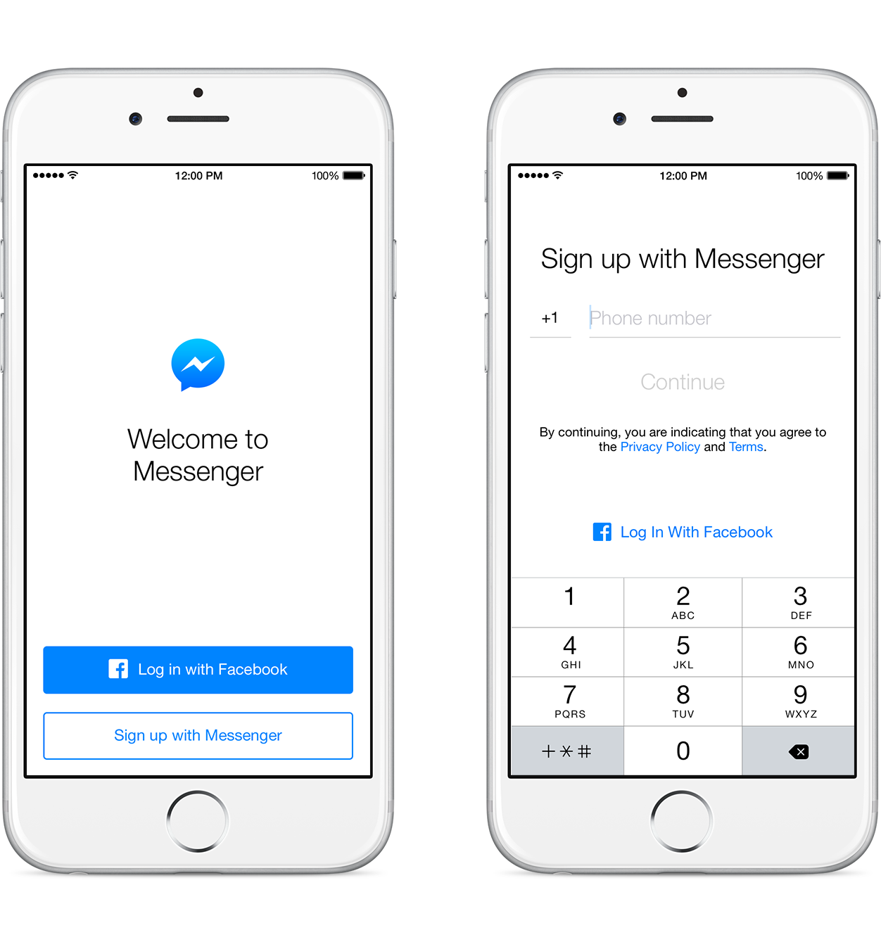 Messenger Sign Up iOS