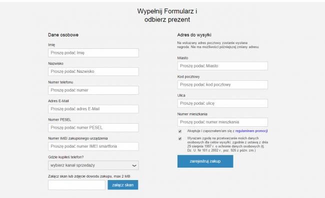 Formularz zgłoszeniowy i lin do regulaminu, po kliknięciu którego rozpoczynało się pobieranie bazy zarejestrowanych użytkowników.