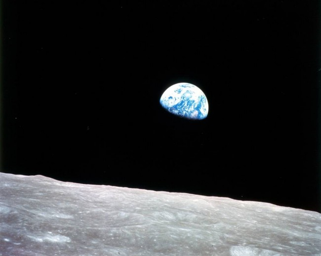 earth rise over the moon
