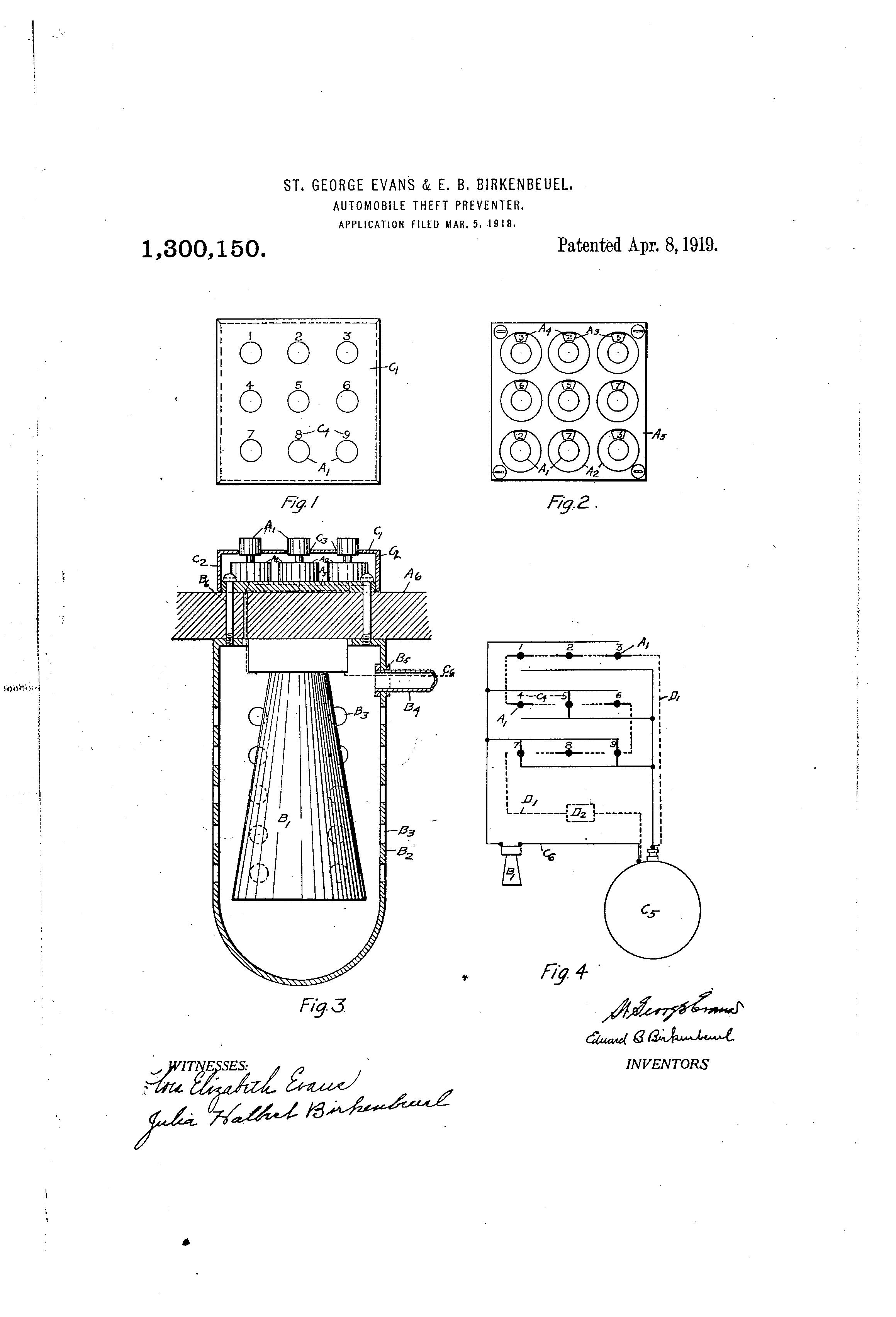 Tak, tak właśnie wyglądał jeden z pierwszych pomysłów na alarm samochodowy. Źródło: wniosek patentowy, 1919