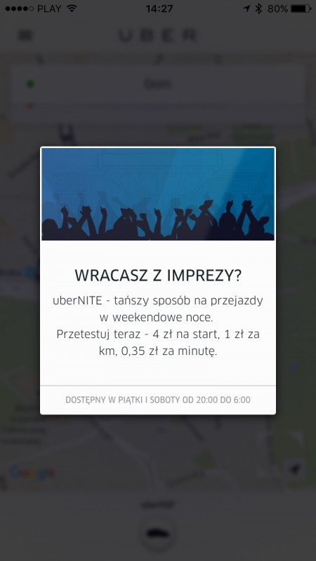 Uber UberNite Heetch Rabat Taniej Promocja