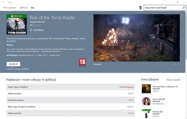 Rise of the Tomb Raider w Sklepie Windows
