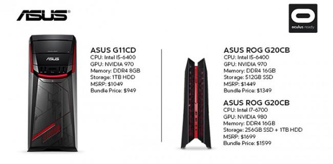 Oto komputery zgodne z Oculus Rift od Asusa.