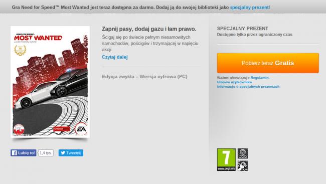 Need for Speed Most Wanted za darmo Specjalny Prezent Origin