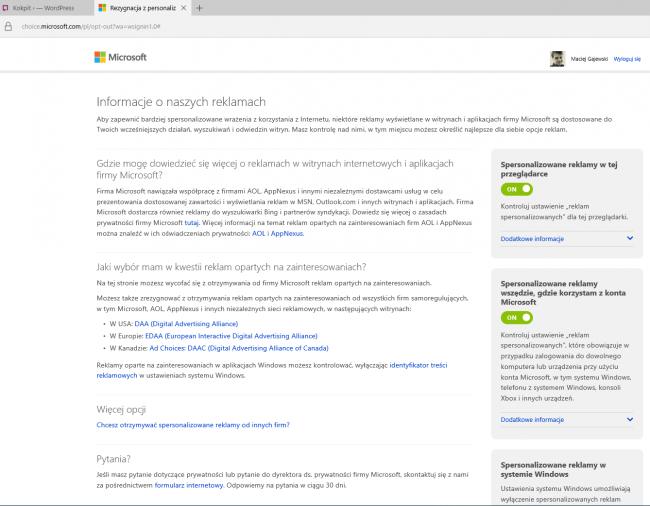 Bing Ads - ustawienia prywatności