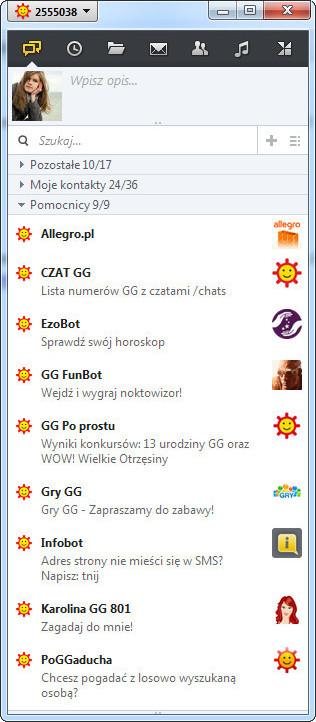 Infobot i inne boty GG wyświetlały się na liście kontaktów.