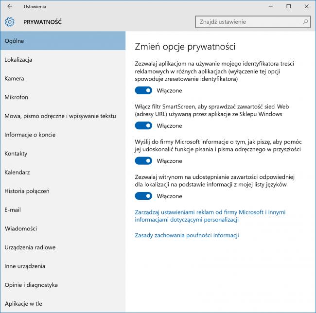 Windows 10 - ustawienia prywatności