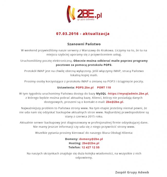 Informacja o stanie 2be.pl
