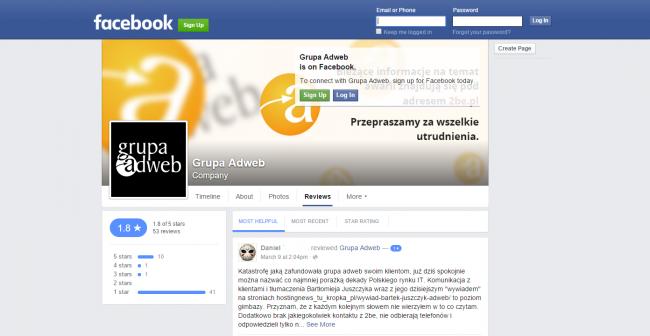 Na Facebooku wysyp negatywnych opinii o firmie Adweb