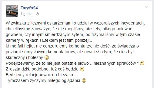 Komentarz profilu Taryfa24 do filmu, który opublikowano na Facebooku