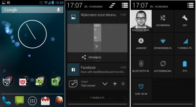 CyanogenMod pulpit i paski powiadomień