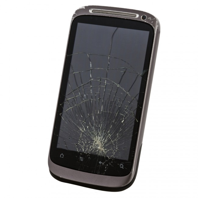 cell phone with a broken screen