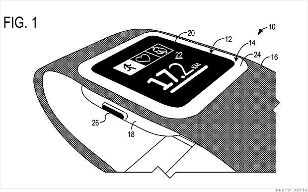 Szkic z wniosku patentowego Microsoftu, który może, ale nie musi przypominać końcowej wersji zegarka