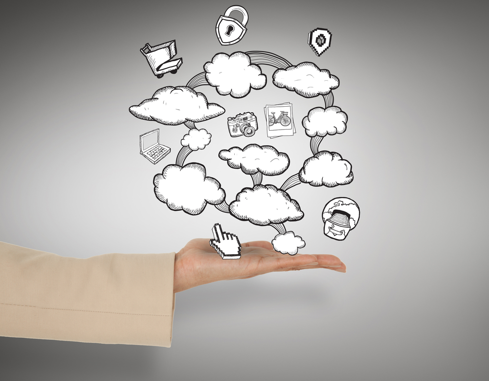 Female hand presenting cloud computing graphic against grey