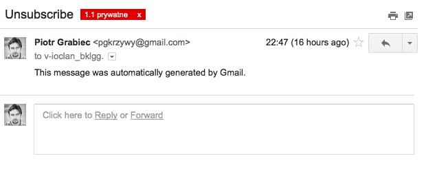 gmail anuluj subskrypcję