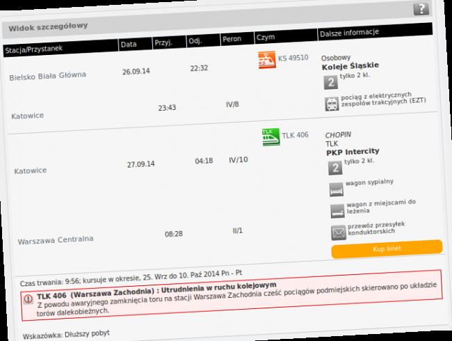 Widok szczegółowy na stronie rozklad-pkp.pl nie zdradza ceny biletu.