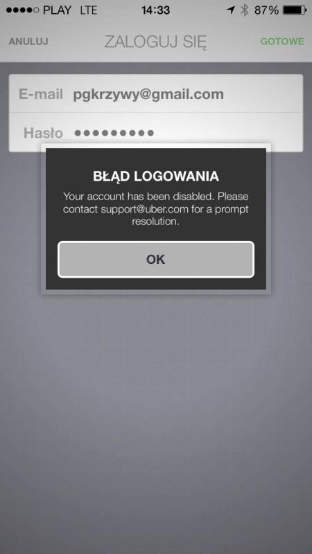 uber problem aplikacja ios