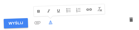 Inbox: opcje formatowania