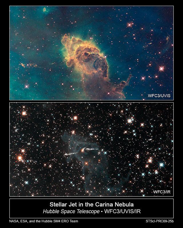 Przykład różnic między fotografią w świetle widzialnym i podczerwieni (NASA)