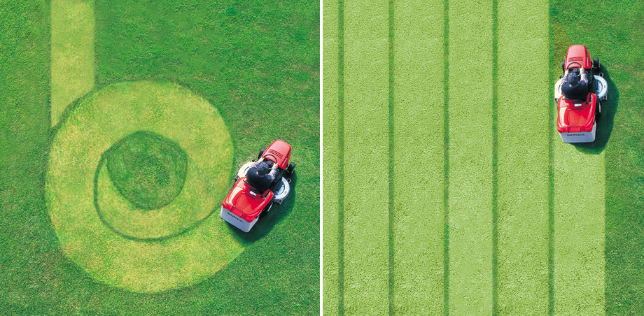 Różnicę pomiędzy golarką rotacyjną a foliową najłatwiej pokazać chociażby na przykładzie koszenia trawy. Koszenie prostymi pasami jest dużo wydajniejsze, dokładniejsze i szybsze.