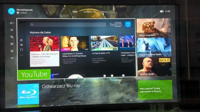 Ekran domowy po uruchomieniu konsoli