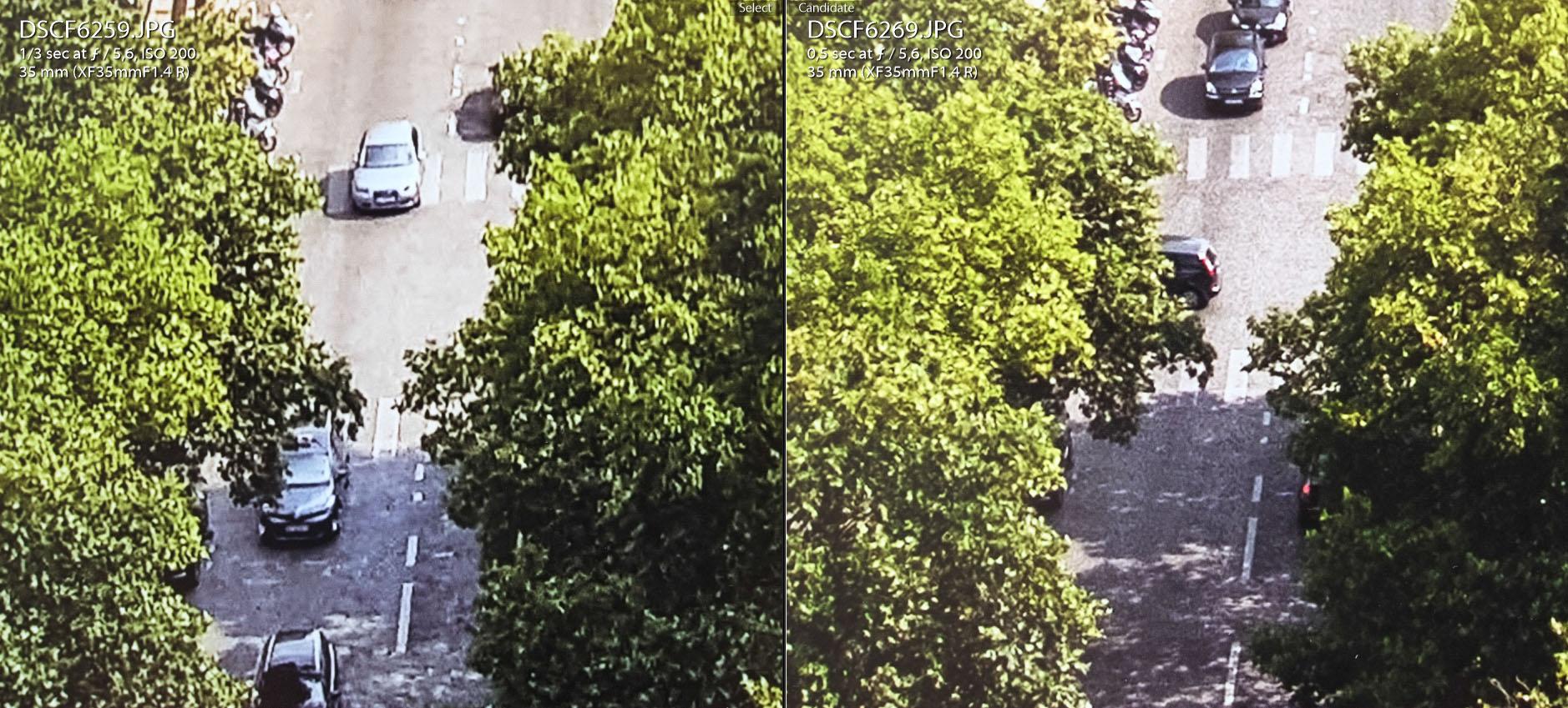 Zdjęcie wydruków wykonane z ok. 10 cm. Samsung Galaxy S6 po lewej, Fujifilm X-E1 po prawej.