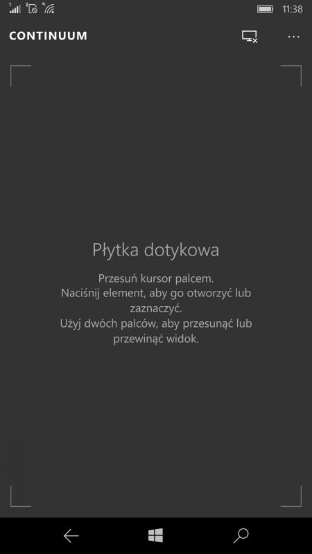 Zrzut ekranowy zrobiony z telefonu pracującego w trybie gładzika. Można ów gładzik zminimalizować i uruchomić na jego wyświetlaczu dowolną aplikację lub zadzwonić.