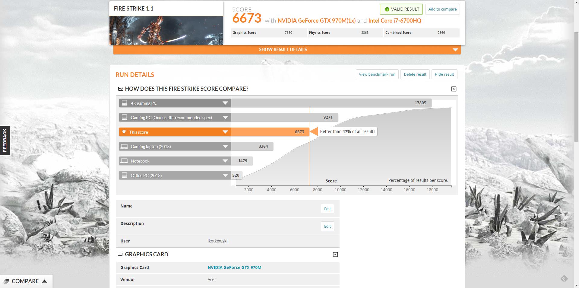 Acer Predator 17 osiąga bardzo dobre wyniki w benchmarkach.