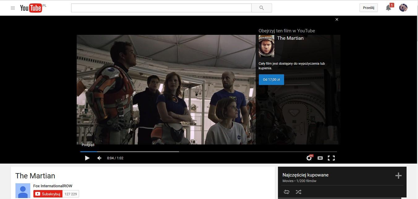 Płatne filmy na youtube