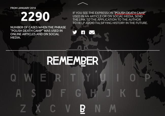 """Aplikacja Remember rozpoznaje """"polskie obozy śmierci"""" i podkreśla je, jako błąd."""