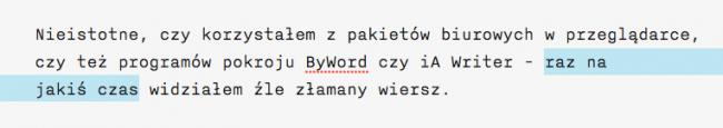 Twarda spacja - łamanie tekstu w OS X