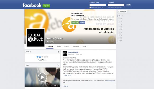 Na Facebooku Grupy Adweb jest informacja o awarii